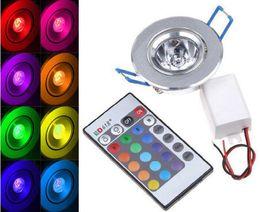Wholesale Led Light Blubs - 3W LED RGB Ceiling Light 85-265V Led Spot Down Light with Remote Controller Wall Lamp Recessed Spotlight Ceiling Light Blubs