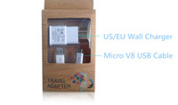 Wholesale V8 Wall Charger - 2 in 1 Kit US EU Wall Adapter Home Charger+Micro V8 USB Cable+retail package for Samsung Galaxy S3 S4 Note 2 HTC LG DHL Free Shipping