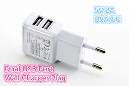 Wholesale S4 Docks - Good Quality 5V 2A Charger Dual USB EU US Plug Home Wall Charger Power Adapter For iPhone 4S 5 5c 5s iPad Mini Samsung Galaxy S3 S4 Note 2 3