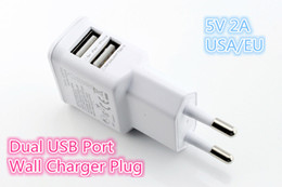 Wholesale Dual Ipad Dock - 2 port Dual 2A USB US EU Plug Wall Charger For iPhone 5S for iPad 4 Mini SAMSUNG GALAXY S5 NOTE 3