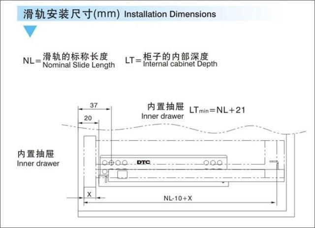 2019 Dongtai DTC Damping Rail Section S10 Three Full Pull Drawer Slides  Hidden Buffer Underpinning Slide Rails From Listener, &Price
