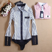 Wholesale Korean Style Striped Shirt - Hot Sale New Fashion 2014 Korean Style Slim Vertical Striped Long-sleeved Black Red Color Winter Conjoined Shirt for Office Lady