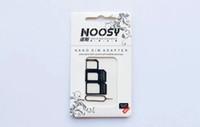 ingrosso scatole di apple iphone 4s-4 in 1 Noosy Nano Micro SIM espellere pin per Iphone 5 per Iphone 4 4S con scatola di carta SIM al dettaglio di alta qualità