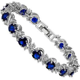 Wholesale Oval White Sapphire - Wholesale-(RIVA Jewellery) 18K White Gold GP Lady Women Rhinestone Crystal Oval Cut Blue Sapphire Fashion Bracelet Jewelry #LB1221BLU
