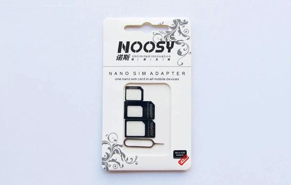 4 en 1 Noosy Nano Micro SIM Adaptador Expulsar Pin para Iphone 4 4s 5 5c 5s Galaxy S4 S5 Nota 2 Nota 3 Con tarjeta SIM Paquete al por menor La mejor calidad