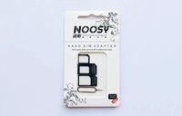 nano tray 4s großhandel-4 in 1 Noosy Nano Micro-SIM-Adapter Adapter mit SIM-Karte Pin Auswurftaste Standard-SIM-Fach für iPhone 4 4S 5 5G 5S 5C 6 schwarz weiß neu