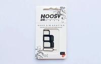 nano plateau 4s achat en gros de-Adaptateur 4 en 1 Noosy Nano Micro SIM Adaptateur avec carte SIM Éjecteur de clé Plateau SIM standard pour iPhone 4 4S 5 5G 5S 5C 6 noir blanc Nouveau