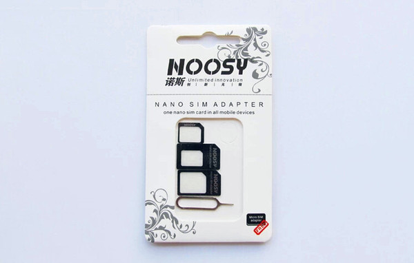 4 in 1 Noosy Nano Micro SIM Adapter Adaptor with Sim card Pin Eject Key standard SIM Tray For iPhone 4 4S 5 5G 5S 5C 6 black white new