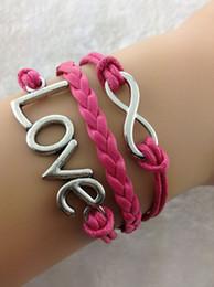 Wholesale Pink Infinity Rope Bracelet - Wholesale-3pcs Karma Bracelet - Silver Infinity Bracelet, Silver Love Bracelet ,Pink Snakeskin Rope & Leather Braid Chain-ZA013
