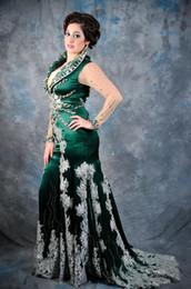 Wholesale Imitation Lavender - Latest Design Popular Green Plus Size Mermaid Evening Dresses Long Illusion Sleeve Crystal Silk Imitation Lace Pageant Gowns Custom Size E50
