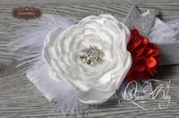 Wholesale Layered Christmas Bows - White&Red Layered Flower Satin Mesh Flower Matching Sparkling Rhinestone Glitter Bow Lace Headband Baby Headband Christmas Headband 6pcs lot
