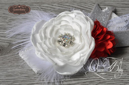 Wholesale Red Glitter Headbands - White&Red Layered Flower Satin Mesh Flower Matching Sparkling Rhinestone Glitter Bow Lace Headband Baby Headband Christmas Headband 6pcs lot