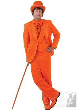 Elegant Super Orange Groom Tuxedo One Button Notch Lapel Men ...
