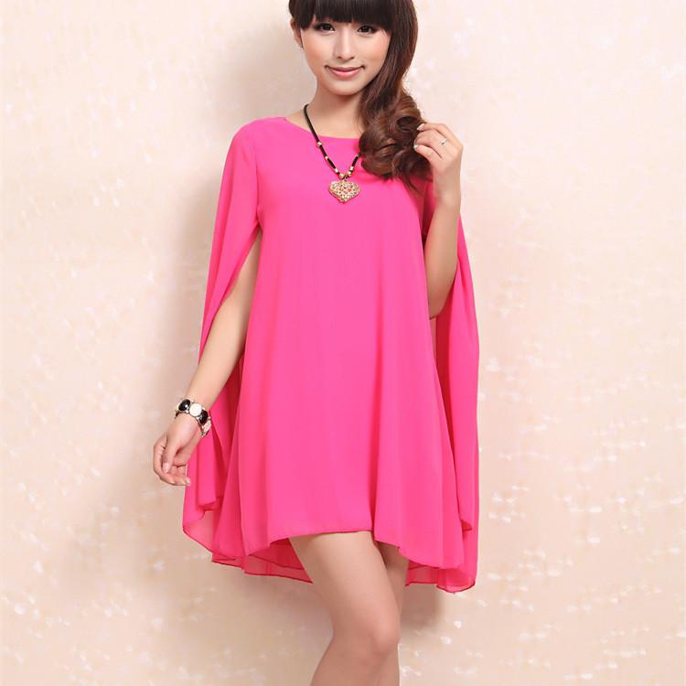 XNQ-One-piece dress plus size batwing sleeve loose poncho sunscreen chiffon  one-piece dress