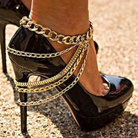 cadenas de tobilleras para zapatos al por mayor-Regalos de Navidad Tobilleras punk doradas se pueden usar con cadenas de zapatos de tacón alto joyería de cuerpo de estilo vaquero personalizado mujeres 1 piezas