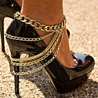 Wholesale Used Heels - Xmas gifts Gold Punk Anklets can be used with high-heeled shoes chains personalized cowboy style body jewelry women 1pcs