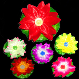 Wholesale Lotus Water Lanterns - Diameter 20cm LED Artifical Lotus flower Colorful Changed Floating Water flower swiming Pool Wishing Light Lamps Lanterns with Candle