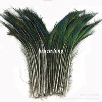 abanicos de papel amarillo al por mayor-Envío gratis 50 unids 12-16 pulgadas 30-40 cm plumas de espada de pavo real joyería artesanía hallazgos del pelo pluma de extensión del pelo