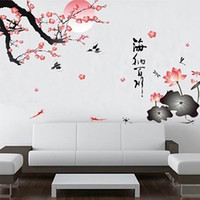 New Plum Flowers Wall Art Stickers vinyle autocollant Art Mural Lotus chinois Livraison gratuite