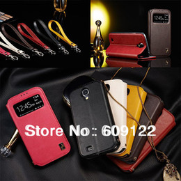 Wholesale Galaxy S4 Free View - For Samsung Galaxy S4 i9500 Smart Cover Case,Luxury Leather Flip Cover,View Display Leather Cases,Free Screen Flim&Touch Style