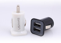 carregadores au 4s venda por atacado-3.1A USAMS carregador de carro Micro Dual USB porta Car Charger Adapter para iphone 5 5s 4 4s ipad samsung s5 i9600 nota 3 frete grátis por dhl