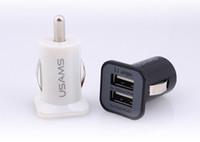 iphone 4s gratuit achat en gros de-3.1A USAMS chargeur de voiture Micro Dual USB port Chargeur de voiture Adaptateur pour iphone 5 5s 4 4 s ipad Samsung S5 I9600 Note 3 Livraison gratuite par DHL