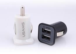 Dual usb auto ladegerät dhl online-3.1A USAMS Autoaufladeeinheit Mikro-Doppel-USB-Hafen Auto-Aufladeeinheits-Adapter für iphone 5 5s 4 4s ipad Samsung S5 I9600 Anmerkung 3 Freies Verschiffen durch DHL