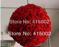 Wholesale Color Kissing Balls - Wholesale-Free shipping 30cm*1pcs Rose kissing ball artificial silk decration flower wedding party red color weddng
