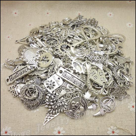 Livraison gratuite! Hot 40-80 type tibétain charme en argent mélangé 100g alliage pendentif bricolage pour bracelet collier fabrication de bijoux