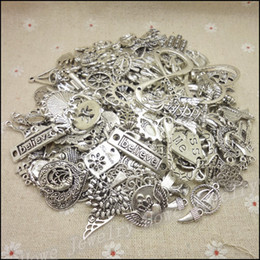 Wholesale Tibetan Necklace Wholesale - Free shipping!Hot 40-80 type Tibetan silver charm Mixed 100g Alloy Pendant DIY for bracelet necklace jewelry making
