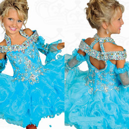 Wholesale Long Sleeve Mini Wedding Dresses - Shining Girls Pageant Dresses Princess Portrait Ball Gown Ruffle Beaded Organza Flower Girls' Dress For Wedding Children Formal Wear