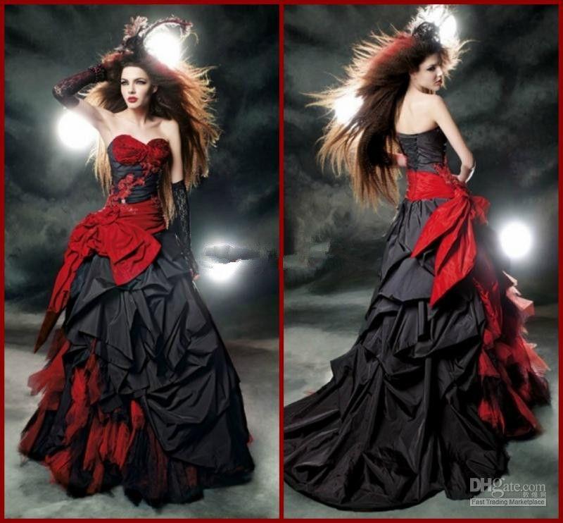 Красные и Черные Готические Свадебные Платья на Хэллоуин Кружева Тюль Тафта Лук Оборками Милая A-Line Свадебные Платья На Заказ W339