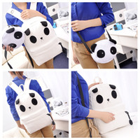 Wholesale Cute Panda Backpacks - Autumn and Winter Cute Panda Backpacks Schoolbags for Girls,2pcs set Women Canvas Cartoon Backpacks with Small Shoulder Bags H11980