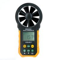 Wholesale Digital Temperature Humidity Thermometer - HYELEC MS6252A Digital Anemometer Air Volume Temperature Humidity Wind Speed Test Thermometer Meter Contas De Rpm H11869