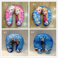 Wholesale Micro Bead Neck Pillow - Free Shipping 4 Styles Frozen Anna Elsa Olaf Children U Shaped Head Rest Micro Foam Beads Traveling Neck Pillow