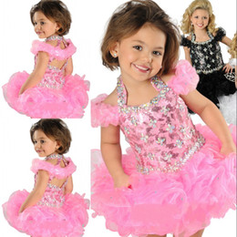 Wholesale Hot Pink Toddler Dress - Hot Selling Super Adorable Ball Gown Halter Toddler Infancy Short Formal Dresses Crystals Beaded Handmade Ruffle Organza Girls' Pageant Gown