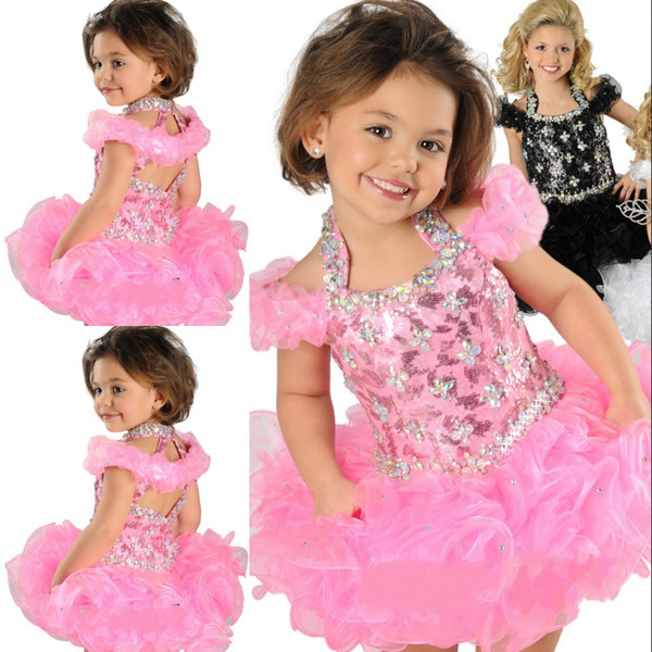 best selling Hot Selling Super Adorable Ball Gown Halter Toddler Infancy Short Formal Dresses Crystals Beaded Handmade Ruffle Organza Girls' Pageant Gown
