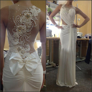 Wholesale 2019 Sexy Sheer Back Bow Beaded Pearls Sleeveless Ruffle Mermaid Evening DressesProm Gown Dresses for Party