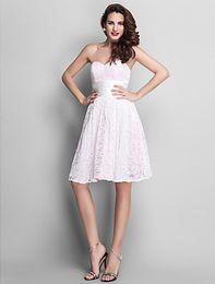 Wholesale Lace Bridesmaid Dresses Online - 2017 New Strapless Boho bridesmaid dress Online Empiren Knee Length Patry evening dresses Junoesque Lace Prom Dresses
