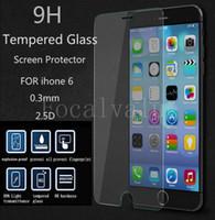 ingrosso iphone 4.7 5.5 protezione dello schermo-0.33m 2.5D 9H anti impronte digitali Scratch esplosione infrangibile protezione dello schermo in vetro temprato con imballaggio per iphone 6 4.7 più 5.5