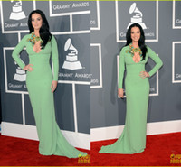 Wholesale Katy Perry Sexy Green Dress - 2015 Long Sleeves Sheath Prom Gown Katy Perry Grammys Evening Dresses Beaded Floral Abaya  Dubai Red Carpet Celebrity Dresses OG-010