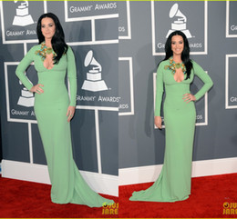 Wholesale Katy Perry Sexy Green - 2015 Long Sleeves Sheath Prom Gown Katy Perry Grammys Evening Dresses Beaded Floral Abaya  Dubai Red Carpet Celebrity Dresses OG-010