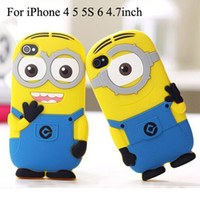 Wholesale Despicable Dhl - 4.7 inch iPhone6 Despicable Me 2 3D Cartoon Soft Silicone Case For iPhone 6 5 5S 4 4S More Minions Cute Cover Shockproof Back Shell DHL