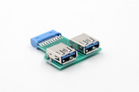 Wholesale Board Header - 19Pin USB 3.0 Header Female to 2 Port A Female Adapter Converter Jack Lead PCB Board PC Motherboard Mainboard USB Extender