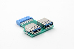 Wholesale Female Headers - 19Pin USB 3.0 Header Female to 2 Port A Female Adapter Converter Jack Lead PCB Board PC Motherboard Mainboard USB Extender