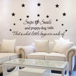 Wholesale Puppy Wall Decor - Vinyl Wall Art Stickers Snips and snails and puppy dog tails That's what little boys are made of Quote Wall Decal for Room Decor