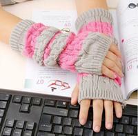 Wholesale Grey Gloves Cotton Long - Fashion Skin Care Fingerless Arm Mitten Long Sleeve Gloves Women's Braided Knit Crochet Warmer Gloves Free Shipping