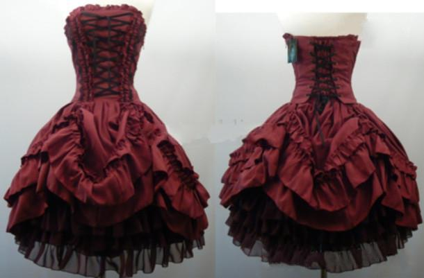 Burgundy Strapless Corset Gothic prom Dresses Short Ball Gown Layered Taffeta Black Tulle Lolita Cosplay Party Prom Dress Bridal Gowns