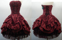 Wholesale Strapless Taffeta Corset - Burgundy Strapless Corset Gothic Wedding Dresses Short Ball Gown Layered Taffeta Black Tulle Lolita Cosplay Party Prom Dress Bridal Gowns