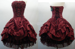 Wholesale Lolita Prom Dresses - Burgundy Strapless Corset Gothic Wedding Dresses Short Ball Gown Layered Taffeta Black Tulle Lolita Cosplay Party Prom Dress Bridal Gowns
